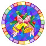 Witraż ilustracja z Bożenarodzeniowymi dzwonami w formie okręgu Obrazy Royalty Free