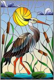 Witraż ilustracja z brown czaplą, płochy na stawie w słońcu, niebo, chmury i słońce, royalty ilustracja
