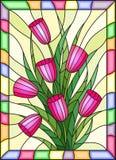 Witraż ilustracja z bukietem różowi tulipany na żółtym tle z jaskrawą ramą Fotografia Stock