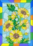 Witraż ilustracja z bukietem słoneczniki w jaskrawej ramie Zdjęcie Royalty Free