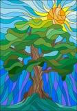 Witraż ilustracja z drzewem na nieba słońcu i tle Obrazy Stock