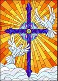 Witraż ilustracja z krzyżem i para białe gołąbki ilustracji