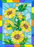 Witraż ilustracja z kwiat słonecznikową jaskrawą ramą Fotografia Royalty Free