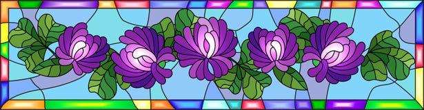 Witraż ilustracja z kwiatami, pączkami i liśćmi koniczyna w jaskrawej ramie, horyzontalna orientacja Fotografia Royalty Free