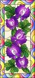 Witraż ilustracja z kwiatami, pączkami i liśćmi koniczyna w jaskrawej ramie, pionowo orientacja Obrazy Royalty Free