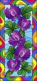 Witraż ilustracja z kwiatami, pączkami i liśćmi koniczyna w jaskrawej ramie, pionowo orientacja Zdjęcia Stock