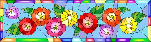 Witraż ilustracja z kwiatami, pączkami i liśćmi zinnias w jaskrawej ramie, horyzontalna orientacja Obrazy Royalty Free