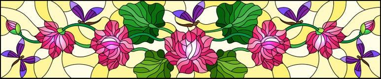 Witraż ilustracja z Lotus opuszcza na żółtym tle i kwiaty, menchia kwiaty i purpurowi dragonflies, horyzontalny im ilustracji