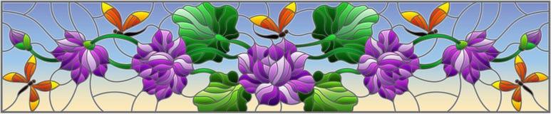 Witraż ilustracja z Lotus opuszcza na nieba tle i kwiaty, purpura kwiaty i pomarańczowi dragonflies, horyzontalny wizerunek royalty ilustracja