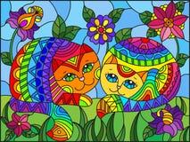 Witraż ilustracja z parą tęcza śliczni koty na tle łąki, jaskrawi kwiaty i niebo, ilustracji