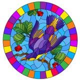 Witraż ilustracja z pięknym jaskrawym purpurowym ptakiem na tle gałąź drzewo i niebo, owalny wizerunek w jaskrawym f ilustracja wektor