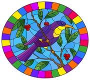 Witraż ilustracja z pięknym jaskrawym purpurowym ptakiem na tle gałąź drzewo i niebo, owalny wizerunek w jaskrawym f royalty ilustracja