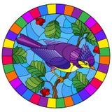 Witraż ilustracja z pięknym jaskrawym purpurowym ptakiem na tle gałąź drzewo i niebo, owalny wizerunek w jaskrawym ilustracji
