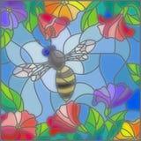 Witraż ilustracja z pszczołami przeciw kwitnieniu i niebu kwitnie Zdjęcia Royalty Free