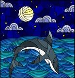 Witraż ilustracja z rekinem w fale, gwiaździstego niebo, księżyc i chmury, royalty ilustracja