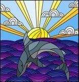 Witraż ilustracja z rekinem w fale, Pogodnego niebo i chmury, royalty ilustracja