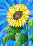 Witraż ilustracja z słonecznikiem na nieba tle Fotografia Royalty Free