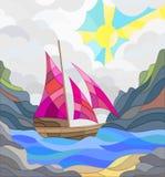 Witraż ilustracja z seascape, żaglówka przeciw tłu chmury, góry i słońce, Obraz Royalty Free