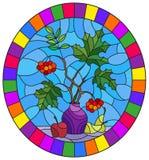 Witraż ilustracja z spokojnym życiem, bukiet gałąź viburnum w ceramicznych wazowych i żółtych bonkretach na błękitnym tle ilustracja wektor