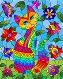 Witraż ilustracja z tęcza ślicznym kotem na tle łąki, jaskrawi kwiaty i niebo, ilustracja wektor