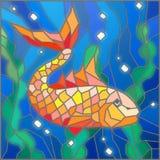 Witraż ilustracja z złoto ryba na tle woda i algi Zdjęcia Royalty Free