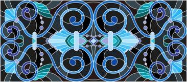 Witraż ilustracja z zawijasami, kwiatami i liśćmi na czarnym tle abstrakta, horyzontalna orientacja Obraz Stock