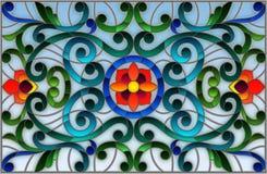 Witraż ilustracja z zawijasami, kwiatami i liśćmi na lekkim tle abstrakta, horyzontalna orientacja Obraz Royalty Free