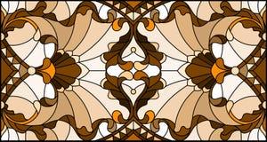Witraż ilustracja z zawijasami, kwiatami i liśćmi na lekkim tle abstrakta, horyzontalna orientacja, sepiowa ilustracji