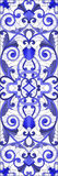 Witraż ilustracja z zawijasami, kwiatami i liśćmi na lekkim tle abstrakta, pionowo orientacj gamma błękit Obraz Royalty Free