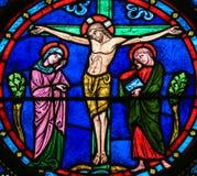 Witraż - Jezus na krzyżu fotografia royalty free