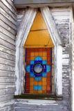 Witraż na starym kościół zdjęcie stock