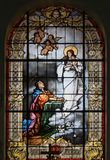 Witraż St Joseph kaplica w Mukachevo Ukraina zdjęcie royalty free