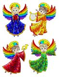 Witraż ustawiający z elementami, śliczni kreskówka aniołowie, coloured postacie na białym tle ilustracji