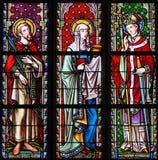 Witraż w Brukselskim Sablon kościół - święty Emilius, Joanna obrazy stock