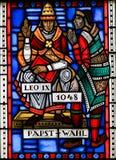Witraż w dżdżownicach - Pope Leo IX Obraz Stock