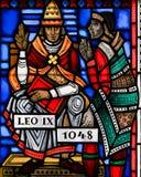 Witraż w dżdżownicach - Pope Leo IX Zdjęcia Stock