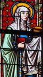 Witraż w Sablon kościół - święty Joanna, żona Chuza zdjęcie stock