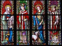 Witraż w Sablon kościół - święty Joanna, Eugene, Agnes obraz stock