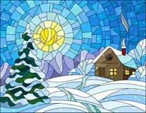 Witraż zimy ilustracyjny krajobraz, wioska dom i jedlina na tle, śnieg, niebo i słońce, Obrazy Royalty Free