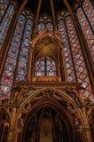 Witrażu baldachin przy Sainte-Chapelle kościół w Paryż i okno fotografia royalty free