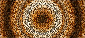 Witrażu ilustracyjny Abstrakcjonistyczny tło, monochrom, tonuje brown, horyzontalnego wizerunek, ilustracja wektor