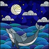 Witrażu ilustracyjny delfin w fale, gwiaździstego niebo, księżyc i chmury, kwadratowy wizerunek ilustracji