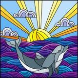 Witrażu ilustracyjny delfin w fale, Pogodnego niebo i chmury, kwadratowy wizerunek ilustracja wektor