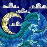 Witrażu obrazu abstrakta krajobrazu ilustracyjny morze macha na tle niebo i chmurnieje z księżyc ilustracji