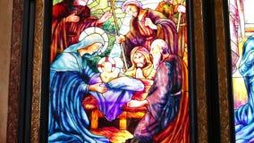 Witrażu okno obraz Jezusowy ` krzyżowanie w sharm el sheikh zbiory wideo