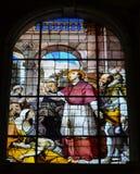 Witrażu okno w Mediolańskim Chatedral Zdjęcia Stock