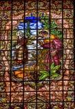 Witrażu Peter zaprzeczenia bazylika Collegiata Madryt Hiszpania Zdjęcie Stock