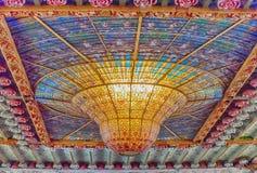 Witrażu skylight, Palau De Los angeles Musica Catalana, Barcelona, obrazy royalty free