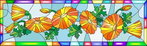 Witrażu wizerunek z kwiatami i liśćmi calendula kwitnie w jaskrawej ramie Fotografia Stock