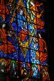 Witraży okno z religijnymi wizerunkami w Santuà ¡ Rio das Almas kościół przy Niteroi, fotografia stock